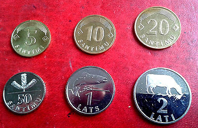 LATVIA 1992 TO 2009 - 1,2,5,10,20, 50 ,1 , 2 Lats COW COIN UNC rare FULL set