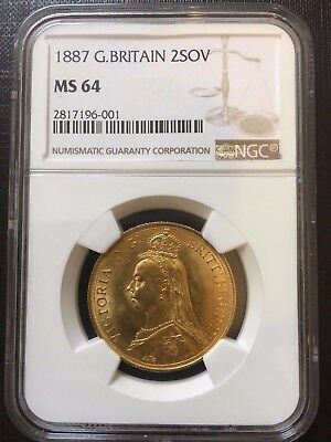 Great Britain 1887 2 Sovereign Victoria NGC MS-64 Beautiful COIN !!!!  .4708 oz