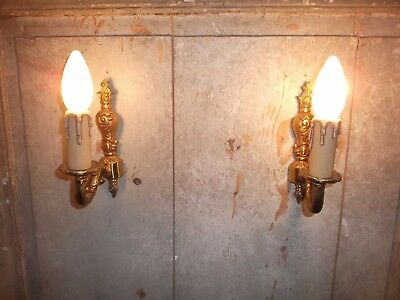 French a pair of gold patina bronze wall light sconces beautiful vintage