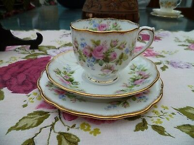 Pretty Vintage Roslyn China Trio Tea Cup Saucer Plate Moss Rose
