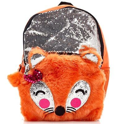 New Girls Sequin & Plush Furry Fox Backpack School Book Bag NWT Licensed