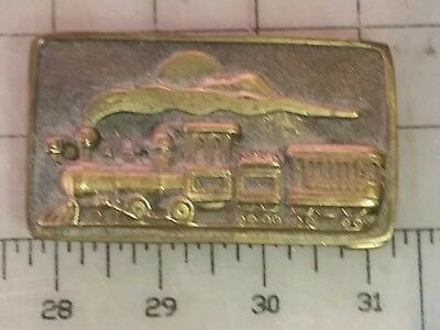 Solid Brass Belt Buckle Train 1975 Adezy Denver