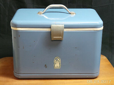 Vintage Thermos Ice Chest Keapsit Baby Blue Metal Cooler