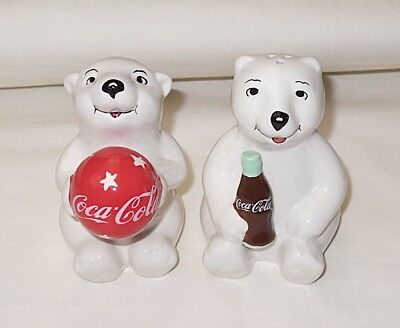 Coca-Cola White Ceramic Coca-Cola Bears Salt & Pepper Shakers Set