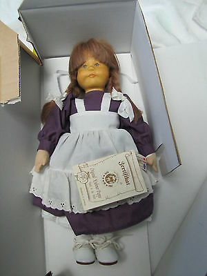 "Germany Krahmer Wooden Head Girl Doll in Box - 13"" tall"