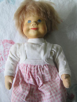 "Rare German Krahmer Wooden Head Baby Doll with Cloth Body ~13"" tall"