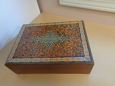 Antique Wooden Lap Desk with Paper Litho Top-Document Box