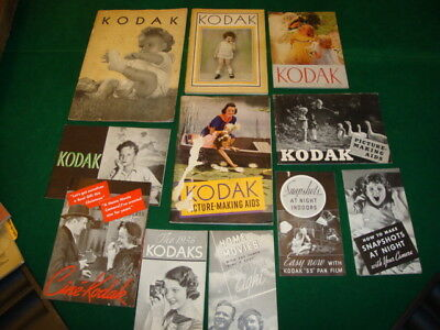 Vintage (30's & 40's) Kodak  camera sales brochures and How-to booklets