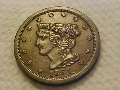 1851 BRAIDED HAIR  Half Cent XF - AU GREAT ORIGINAL COIN !