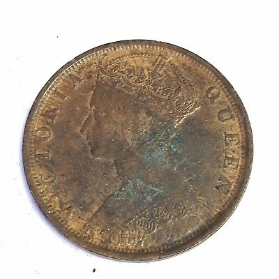 1901 Hong Kong One Cent, Victoria, British Empire coin, XF details