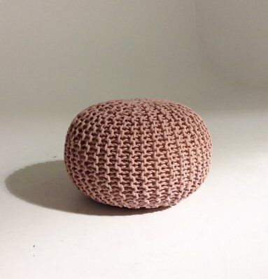 Handmade Round Knitted Pouf - Silver Pink 50x35cm Modern Decor Ottoman Footstool