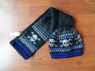 Boys M&s Pirate Skull Beanie Hat And Scarf Set Size Age 6 7 8 9 10 Years