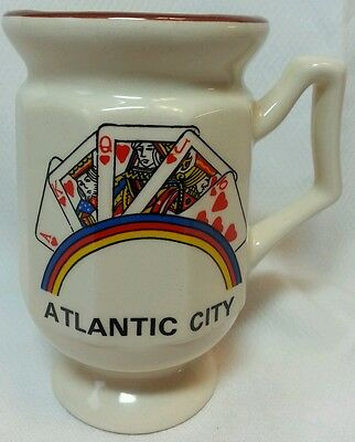 Vintage Atlantic City Mug Cup with Cards, Royal Flush