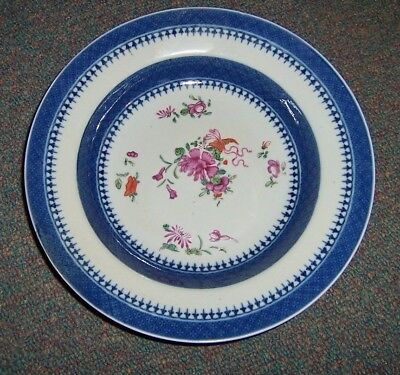 18th Century Chinese Export Porcelain Famille Rose Plate Lowestoft low bowl dish