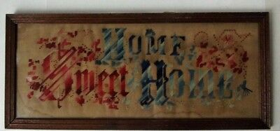 "Antique Victorian Wood Framed Needle Point Sampler ""Home Sweet  Home"" Wavy Glass"