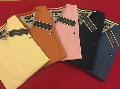 TOMMY HILFIGER Authentic MENS V NECK PREMIUM COTTON JUMPER BNWT CLEARANCE SALE