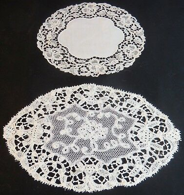 Vintage Doilies Linen Cotton Bobbin Lace Cream Antique Table Mats Chemical Lace