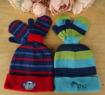 Baby Boys Hat & Mitts Set Double Knit Pull On Beanie Embroidered Motif Up to 24m