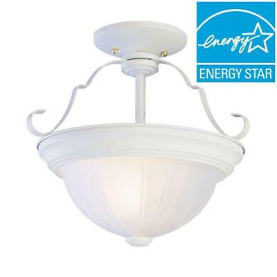 Bel Air Lighting 2-Light Antique White Semi-Flush Mount with Frosted Melon Glass