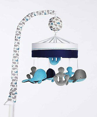 Just Born High Seas Collection Musical Mobile Whales Blue & Grey Anchors