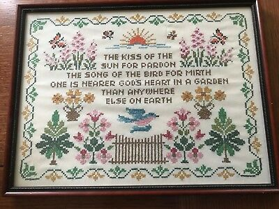 Antique Sampler Hand Made Cross-Stitch - GREAT Condition; Rare Color Combination