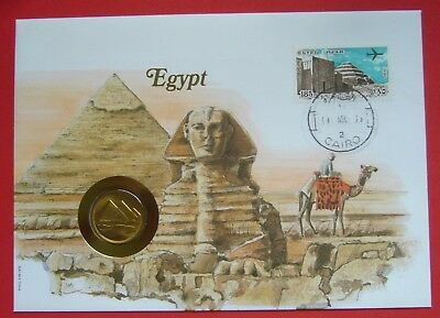 Egypt 5 Piastres AH1404-1984, Cover-Stamp-Unc Condition, Pyramids