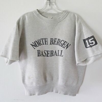 VINTAGE ORIGINAL BASEBALL SWEATSHIRT 1950's NORTH BERGEN VARSITY MEDIUM