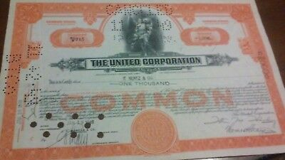 The United Corporation Stock Certificate 1949