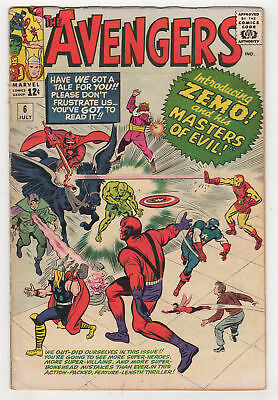 The Avengers #6 GD/VG 1st Baron Zemo & Masters of Evil Thor KIRBY Marvel 1964