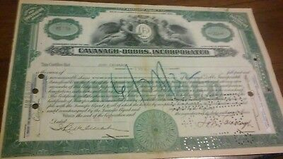 Cavanagh Dobbs Incorporated Stock Certificate 1932