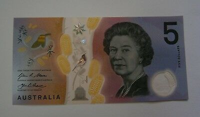 2016 $5 Austral. Note- Unc, Poly -Fraser/stevens,new Issue, Free Post.