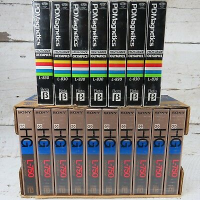 LOT Of 17 Vintage Blank Betamax Tapes In Box Sony L-750 Dupont L-830 NOS