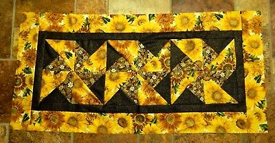Pre-Sewn Already Pieced Pinwheel Table Runner Quilt Top ~ Sunflowers