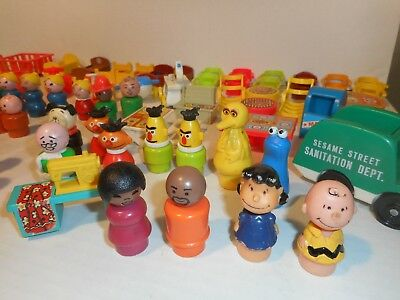 70+ VINTAGE FISHER PRICE LITTLE PEOPLE Sesame Street Charlie Brown Lucy 1970's +