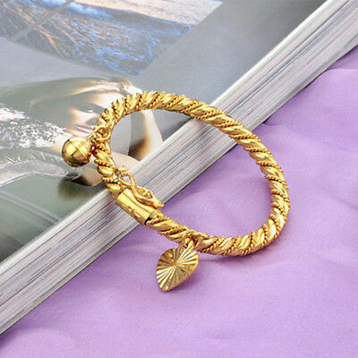 18K Gold Plated Baby Children Jewelry Bracelet Bell Heart Bangle Hand Chains New