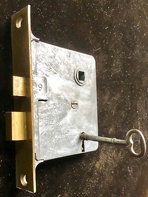Antique Vintage Side Of The Door Mortise Lock W working Skeleton Key Brass Plate