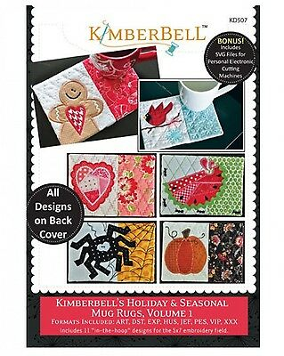 HOLIDAY & SEASONAL MUG RUGS MACHINE EMBROIDERY CD VOLUME 1, From Kimberbell NEW