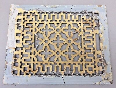 Antique Ornate Cast Iron Heat Register Grate Vent Cover For Parts Steampunk ART