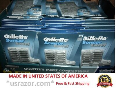 1 10 25 100 200 Gillette Sensor Excel Razor blades Refill Cartridges Made in USA