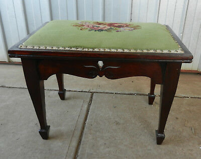 Piano Stool Dresser Seat Solid Blackwood Studded Tapestry Circa 1920