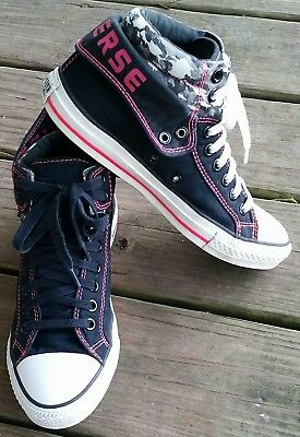 Converse All Star Chuck Taylor shoes, black and pink, women's size 9