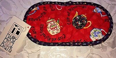 NWT Mary Engelbreit Afternoon Tea Quilted Potholder Grabbitz Red & Black Teapots