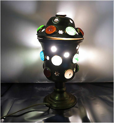 Vintage Unique Brass w/ coloured glass half beads electric lamp