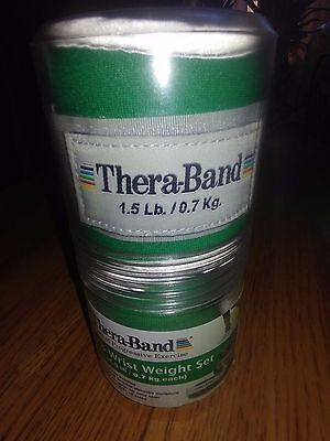 TheraBand Comfort Fit Ankle Wrist Cuff Wrap Therapy Weight Set Adjustable Green