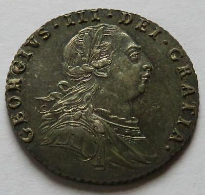 Britain 1787 Six 6 Pence - AU, George III Better Grade British coin  (222150B)