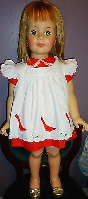 "Beautiful Vintage Red Embroidered Dress For 35"" Patti Playpal Doll Clothes A+"