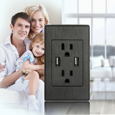 Black Daul USB Wall Outlet Dual 2.1A Charging Port AC Power Receptacle Outlet