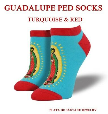 NUESTRA SEÑORA DE GUADALUPE~Turquoise & Red 'Shortie' PED Woman's Socks