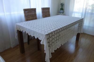 Vintage White Lacey Hand Crochet Table Cloth/Throw 210x170  A