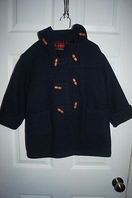 Vintage Toddler Kids Wool Pea Coat Fieldston Clothes Navy Blue Plaid Lined 4 4T